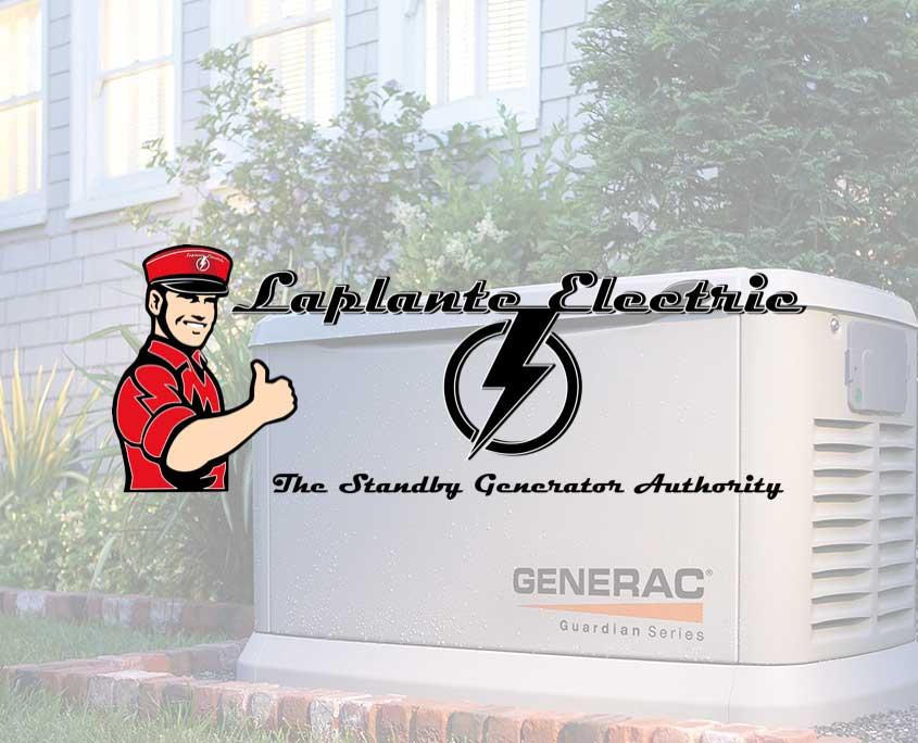 Laplante Electric logo over a nice backup generator installation marketing piece.